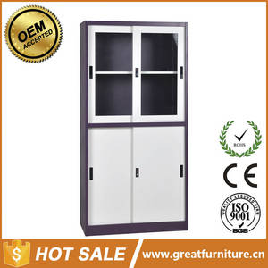 Wholesale Commercial Furniture: Professional Production Half Height Two Glass Sliding Door Stainless Steel File Cabinet with Price