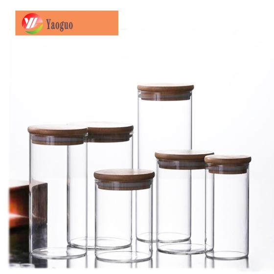 Sell Empty Food Storage Glass Jars Glass with Bamboo Lid and Silicone Ring