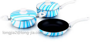 Wholesale cookware handle: Rainbow Series Silk Printed Aluminum Non Stick Cookware Set with Aluminum Cover and Bakelite Handle