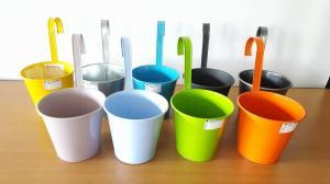 Wholesale color coated: Small Round Pot, with Strap, Powder Coating Color