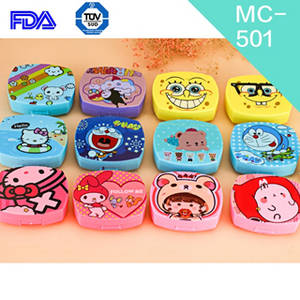 Wholesale color lens: Custom Logo Print Many Colors Animal Cartoon Contact Lens Case