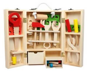 Wholesale educational tools: 2017 New Design Nursery School Toy Kids Pretented Playing Toy 12 Tool Kit Wooden Toy for Education