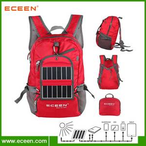 Wholesale solar backpack: Polyester Material Fodable Solar Backpack with 2000mAh Battery for Hiking