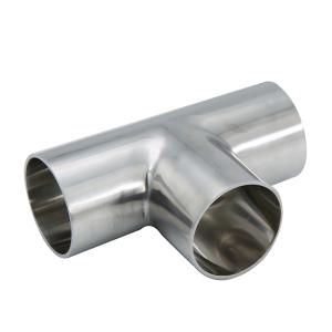 Wholesale steel pipe fitting: DN100  Stainless Steel Hygienic Long Welding Tee Pipe Fittings