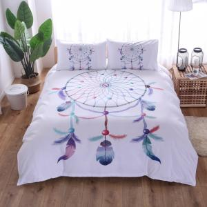 Wholesale duvet cover set: White Dream Catcher Bedding Set Bohemian Print Bedclothes Feathers Duvet Cover Set King Queen Size