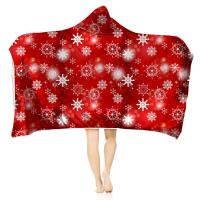 3D Printed Christmas Children Adult Hooded Blankets Wearable Hood Poncho Throw Plush Blanket