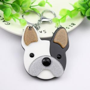 Wholesale french puppies: French Bulldog Compact Mirror Keychain Puppy  Cute Keycharm Pets Styles Acrylic Keyholders Fashion A