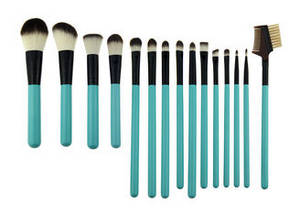 Wholesale hair brush set: Cosmetic Green Professional 15 Piece Makeup Brush Set Wih Synthetic Hair