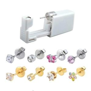 Wholesale sterilizing: 316l Surgical Steel Sterilized Disposable Ear Piercing Units with CZ Earrings