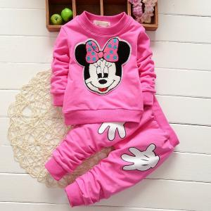 Wholesale t-shirts: Baby Girl Minnie Mouse Long Sleeve Tops T-shirt+ Pants 2Pcs Outfits Set Clothes (2)