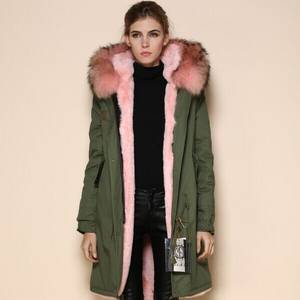Wholesale faux fur: Fashion Good Quality Faux Fur Lined with Raccoon Fur Coat