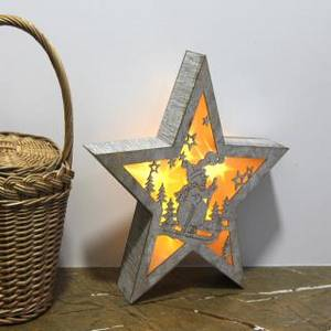 Wholesale operating room: Light Up Wooden Star Christmas Room Decoration LED Battery Operated Ornament
