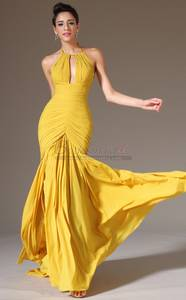 Wholesale floor length wedding dress: Yellow Empire Waist Mermaid Bridesmaid Dress