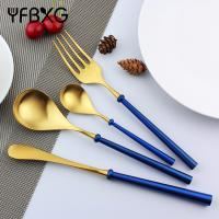 Sell Restaurant flatware heavy handle stainless steel gold cutlery