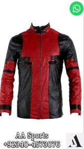 Wholesale biker super hero costume: Super Hero Costume Leather Jacket Dead Pool Sheepskin Biker Slim Fit for Men's