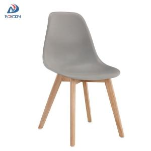 Wholesale modern bedroom furniture: AL-805W Factory Wholesale Grey Dining Chair with Plastic Seat and Wood Legs for Sale