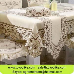 Wholesale handmade: Toyoulik Beige Handmade Cutwork Embroidery Dining Tablecloth Chair Cover Set Table Runner Wholesale
