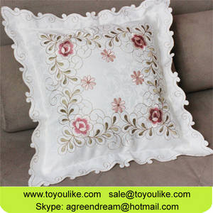 Wholesale fashion: Fashion Simple Flower Embroidered Polyester Decorative Cushion Cover Pillowcase for Home Decorative