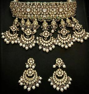 Wholesale cz jewelry: Real Polki Kundan Necklace Set Bollywood Jewelry Ad CZ Handmade Statement Fsn