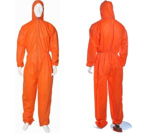 Wholesale disposable hooded coveralls: Disposable Breathable SMS Safety Working Coverall Orange