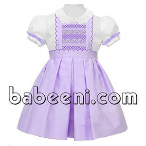 Wholesale Dresses: Cute Purple Geometric Smocked Scallop Dress for Girl - DR 2279