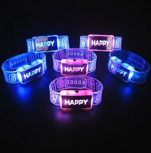 Wholesale bangles: Happy LED Bracelet Wristbands/Bangles for Party Festival Event Concert