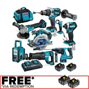 Wholesale torch radio: Makita 18V Brushless 8 Piece 2 X 5.0Ah Combo Kit DLX8016PT