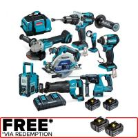 Makita 18V Brushless 8 Piece 2 X 5.0Ah Combo Kit DLX8016PT