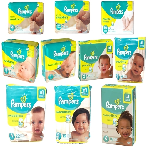 Pampering Swaddlers Diapers, Size P-1, P-2, P-3, Newborn 1 2 3 4 5 6 - ALL SIZES