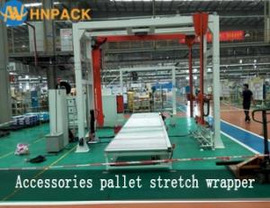 Wholesale rotary arm stretch wrapper: Hennopack MR402 Fully Automatic in Line Pallet Conveyor Rotary Arm Wrapper Machine