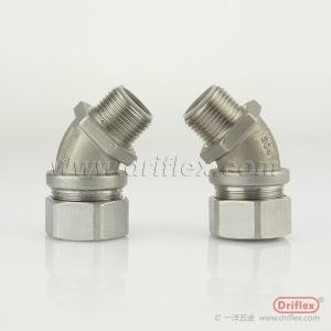 Wholesale conduit coupling: IP65 Protection Stainless Steel 304/316 Liquid-tight Flexible Metallic Conduit Fittings 45d Angle