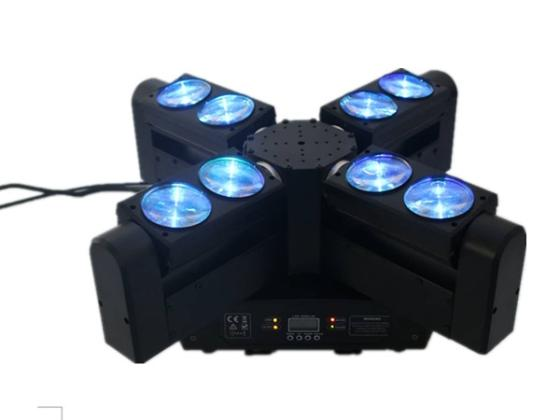 New Stage Light Unlimited Rotation 8 Eyes 12W Beam Moving Head Cree LED Light