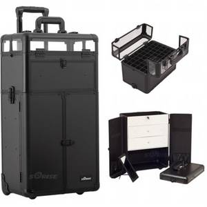 Wholesale cosmetic mirror: Sunrise Black Smooth Trolley Makeup Case with Large Drawers and Nail Case