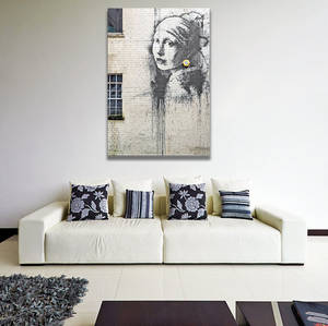 Wholesale earring: Banksy Girl with A Pearl Earring Canvas Print / Beautiful Teen Wall Painting Printing Decor