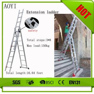 Wholesale Ladders: AY-307 7step 3 Section Aluminium Extension Ladder