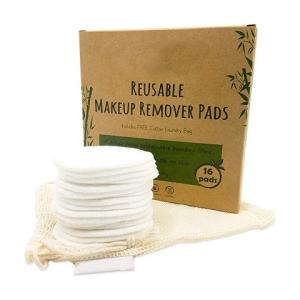 Wholesale net: Bamboo Cotton Reusable Makeup Remover Pad Washable Facial Cleaning Pad with Laundry Net Bag