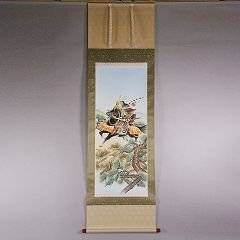 Wholesale hangings: Kakejiku (Japanese Hanging Scroll) with Armoured Warrior Painting by Shunkou Masuda