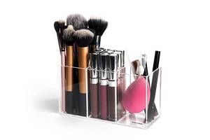 Wholesale acrylic makeup organizer rack: Acrylic Makeup Organizer with 3  Compartment Clear