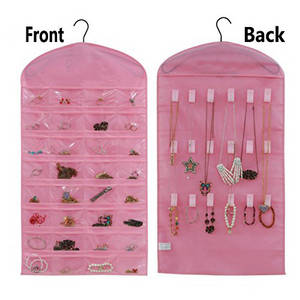 Wholesale jewelry organizer: Pink Jewelry Hanging Non-woven Organizer Holder 32 Pockets 18 Hook and Loops