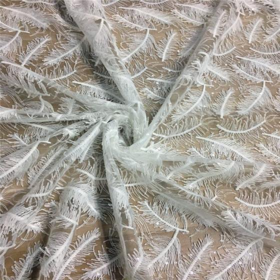 3D Sequined Spun Fabric Feather Design