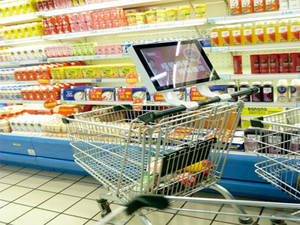 Wholesale Shopping Trolleys & Carts: LCD Advertising Market Shopping Trolley with Battery