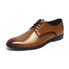 Wholesale africa dresses: Breathable Brown Lace Up Mens Leather Dress Shoes