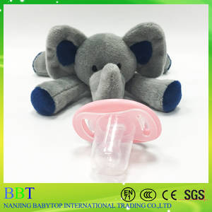 Wholesale plush animals: Elephant Baby Pacifier Plush Toy Cute Animal Pacifier