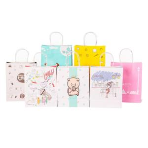 Wholesale paper printing: Wholesale Logo Printed Retail White Kraft Paper Shopping Bag with Handle