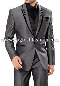 Wholesale men suits: Classic Mens Gray Party Wear Tuxedo Suit