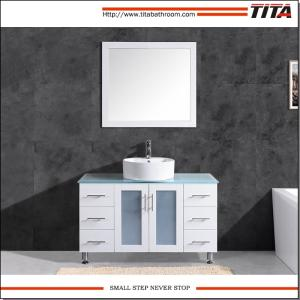 Wholesale tempered glass: Floor Mounted Tempered Glass Countertop Bathroom Vanity with Round Ceramic Basin T9140-48W
