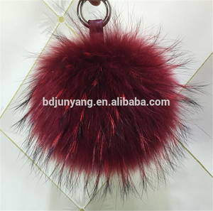 Wholesale animal fur keychain: Decorative Real Fur Raccoon Pompons Fashion Accessory Pendant Fur Ball Key Ring