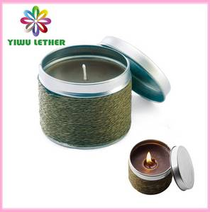 Wholesale outdoor: Straw Weaving Covered Tin Candles, Non-smoke Scented Candles, Mosquito Repellent Candles, Outdoor Ca