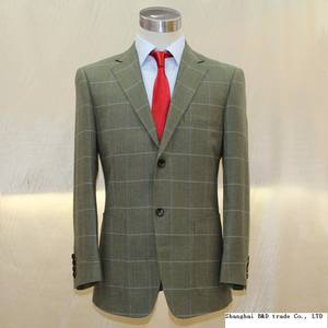 Wholesale Suits & Tuxedo: Heavy Army Green Wool with Big Window Plain Uk Style Man's Business Casual Suit Tailor Made