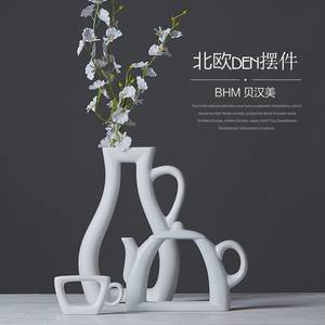 Wholesale decorative pot: A Set White Pot Shape Cheap Jingdezhen Modern Porcelain Vase for Home Decor